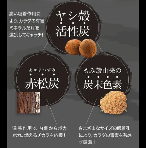 3つの吸着タイプが異なる炭の配合